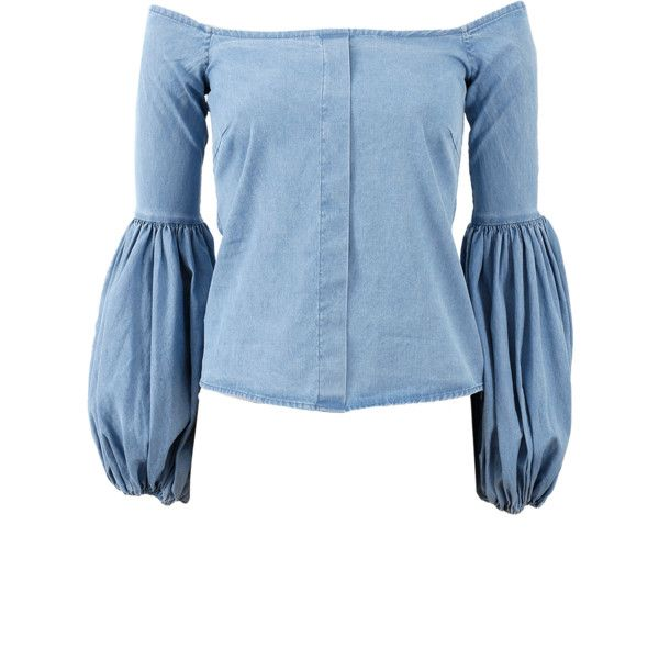 Caroline Constas Gisele Off Shoulder Chambray Blouse ($395) ❤ liked on Polyvore featuring tops, blouses, sleeve blouse, long sleeve tops, slimming tops, blue off shoulder top and long length tops