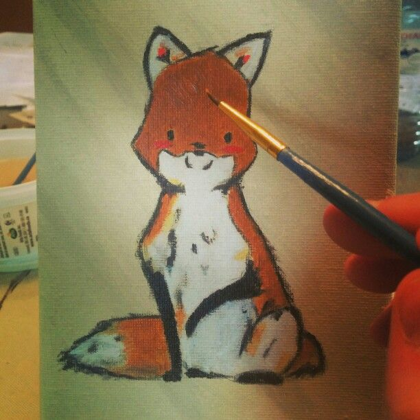 Baby Fox Painted for My Friend who equally shares my foxy passion. #Fox #FoxArt #FoxPainting