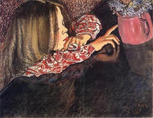 1902 Stanisław Wyspiański (Polish, 1869-1907) ~ Girl With a Vase of Flowers