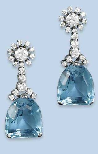 A PAIR OF AQUAMARINE AND DIAMOND EARRINGS  Each earring set with a brilliant-cut diamond-set cluster supporting a fancy-cut aquamarine drop