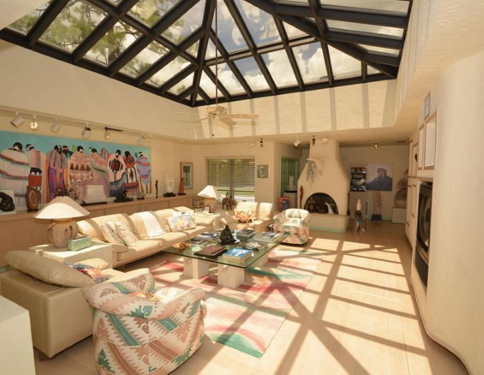 Charming Living Area With A Skylight (aka Southwestern Style Hell)