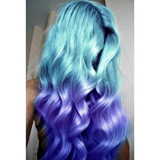 blue aqua ombre mermaid hair | Hair: Not so Natural Color ...