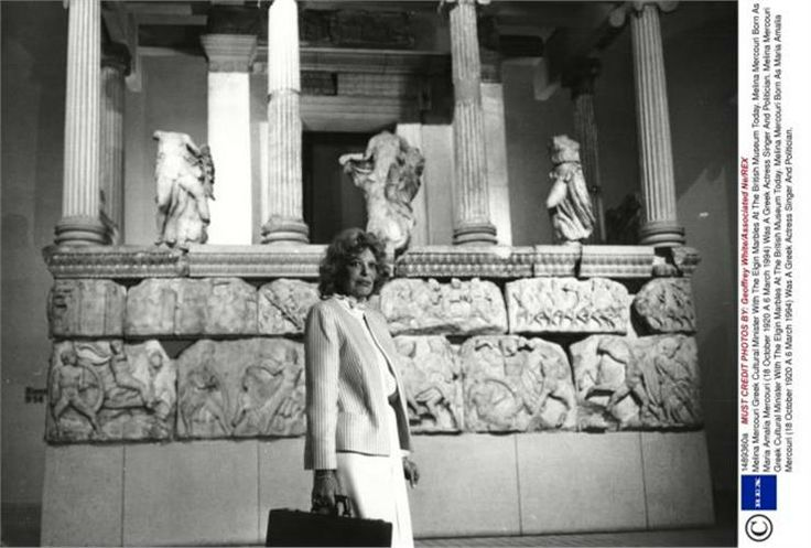 Melina Mercouri, Greek Cultural Minister With The Parthenon Marbles At The British Museum
