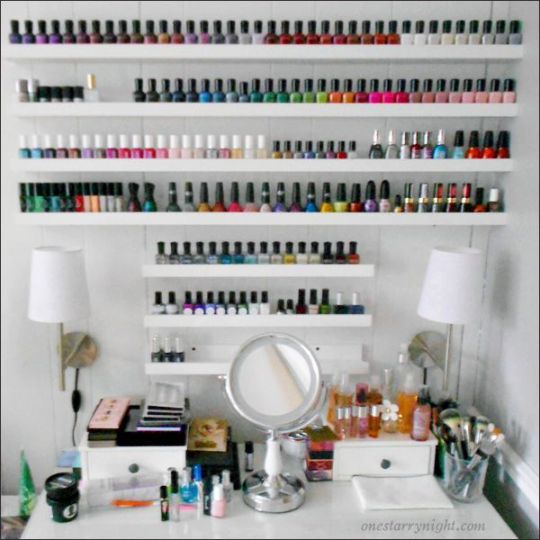mom, for our collection! i want to get an ikea shelf like this. i only need one though (for now) :) nail polish shelf storage @monicapadgett this is totally for you