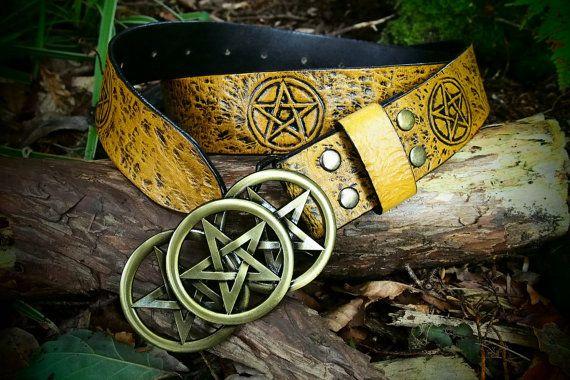leather pentagram belt pentagram belt buckle by PocillatorWorkshop