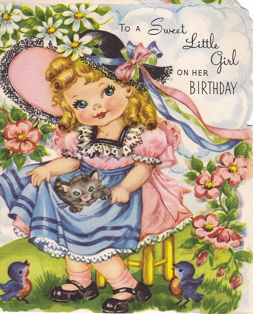 Blue eyed birthday girl and kitty apron by katinthecupboard, via Flickr