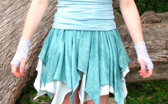 Organic Skirt, Eco Friendly, Hemp, Bamboo, Full Circle Skirt with gloves, Aqua, Teal, Teen girls fashion