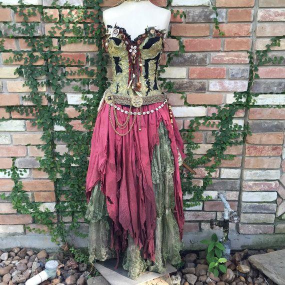 Traum Böhmische Voodoo Priesterin Sumpf Arzt Magic Laveau Gypsy Pirate Halloween Hexenkostüm