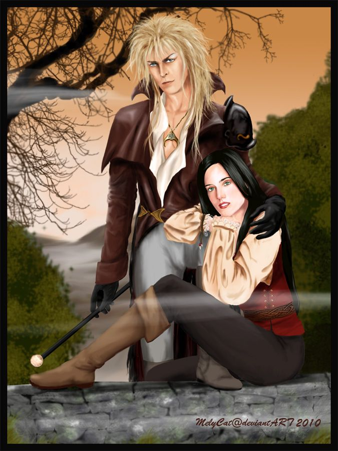 Amazing drawing of a grown up Sarah with Jareth.