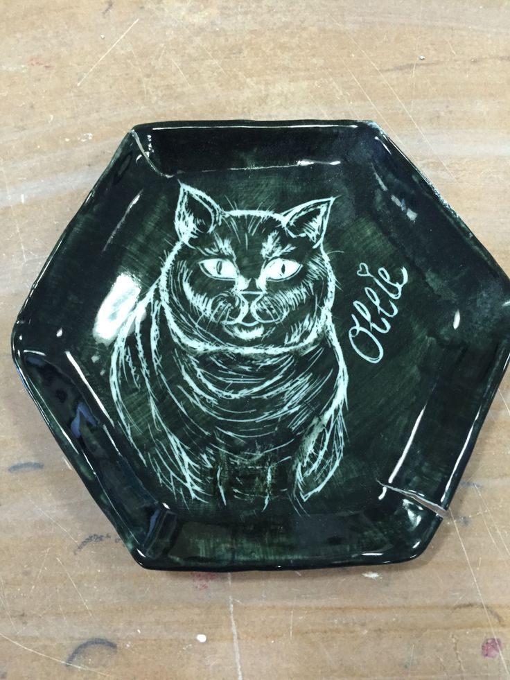 Sgraffito small plate of Ollie my cat