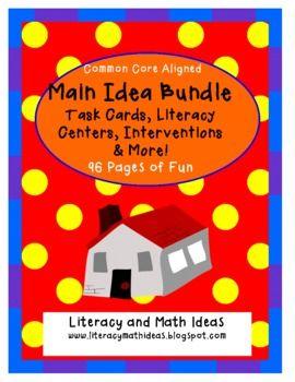 12 Main Idea Task Cards, 6 Main Idea Literacy Centers, Hands-On Main Idea Lesson Ideas, and 2 Common Core Aligned Main Idea Worksheets in one bundle!!