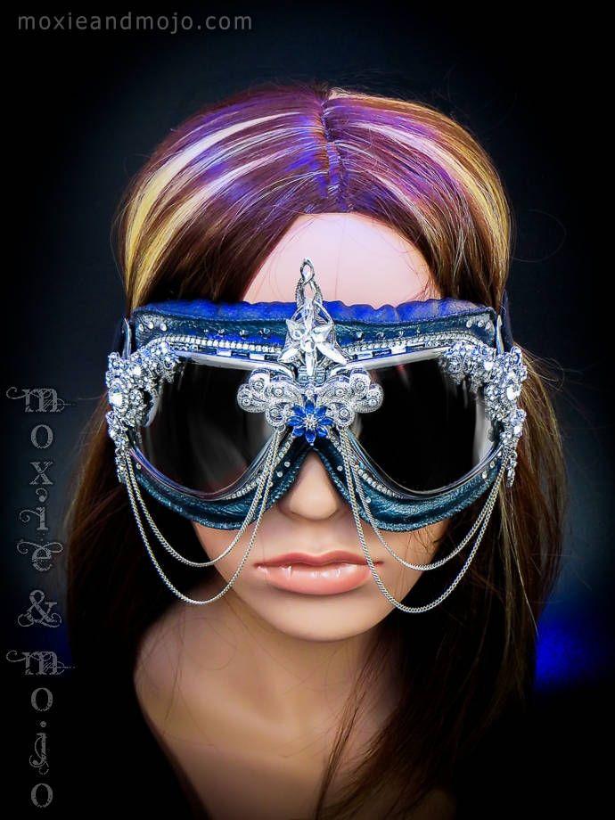 "Burning Man Goggles, Festival Eyewear, Embellished Goggles, Sparky Goggles, Steampunk Festival Headpiece ""The Last Unicorn"" by MoxieandMojoFashion on Etsy"