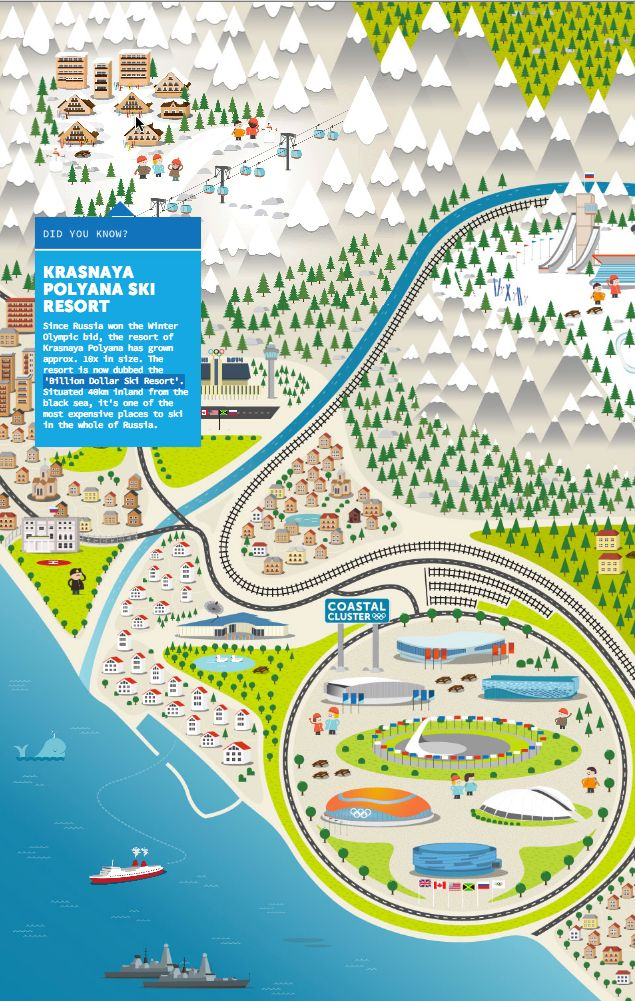 Sochi 2014 Winter Games Interactive Map -tour around landmarks in and around Sochi to discover the brilliant and often bizarre facts about the Games
