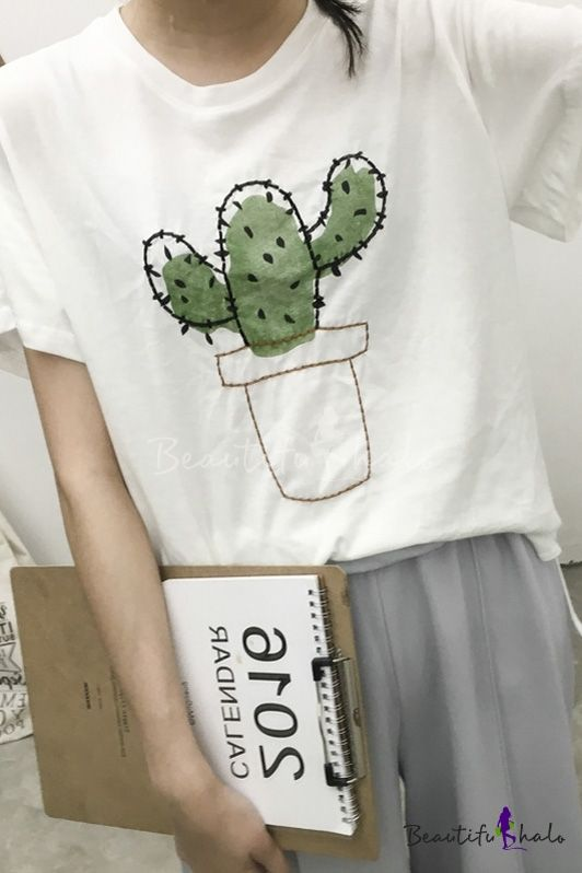 Cactus Embroidered Bell Sleeves Loose Fit Tee                                                                                                                                                     More
