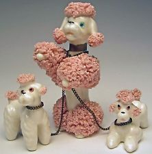 Vintage Kreiss Spaghetti Poodle Pink & White Porcelain Mother & Puppies on Chain