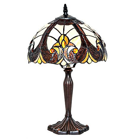 """470-427 - Tiffany-Style 16""""  Amber Halston  Stained Glass  Table Lamp"""