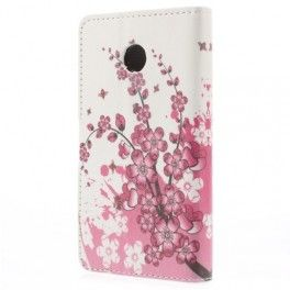 Huawei Ascend Y330 vaaleanpunaiset kukat puhelinlompakko.