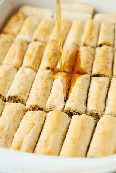 pistachio rolled baklava recipe | use real butter