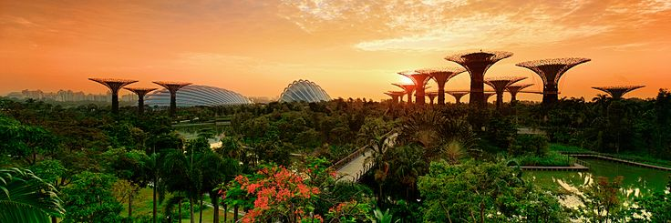 Green Mars: Silhouetted against an orange sunrise, Singapore's Gardens by the Bay gives the impression of a garden city on a terraformed Mars.