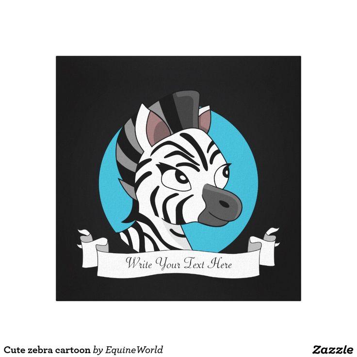 Cute zebra cartoon canvas print