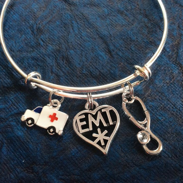 Stethoscope Ambulance and EMT Medical Charm on a Silver