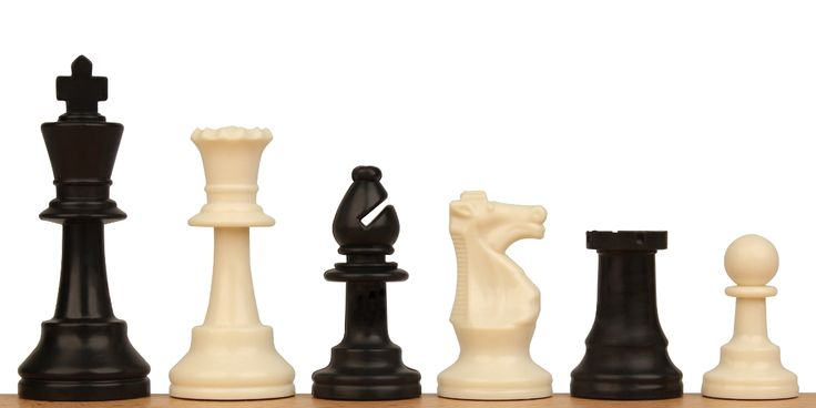 """Club Plastic Chess Set Black & Ivory Pieces - 3.75"""" King - The Chess Store"""