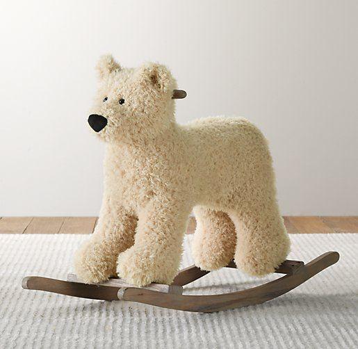 Shaggy Plush Polar Bear Rocker Nursery Accessories