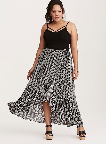 Ikat Print Wrap Challis Maxi SkirtIkat Print Wrap Challis Maxi Skirt,
