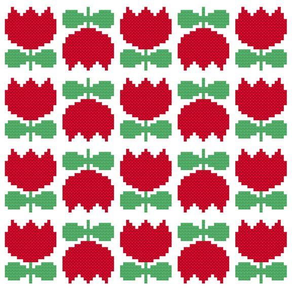 Kitschy Digitals :: Sewing & Needlework Patterns :: Scandi Flower Cross-Stitch Pattern