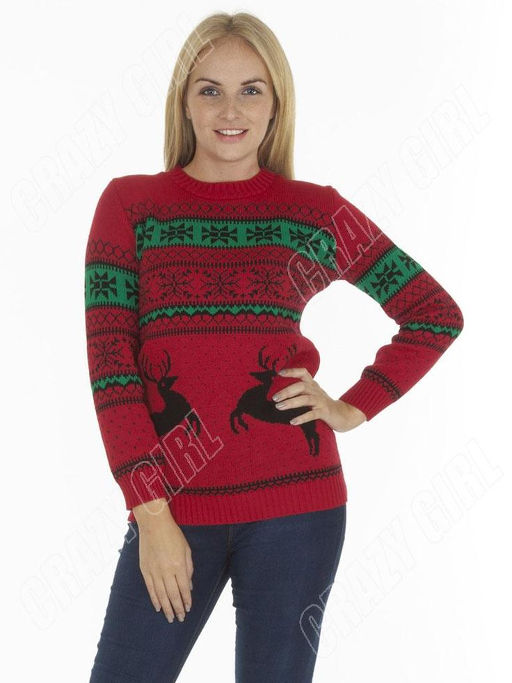 Nordic-Reindeer-Couple-Adult-Womens-Mens-Novelty-Christmas-Jumper-Size-10-12-14