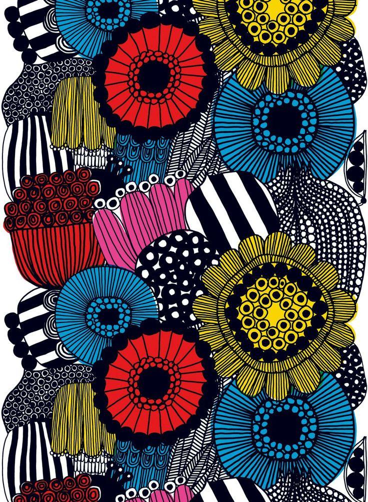 割当 - 厚い綿(白、黄、赤、黒)|ファブリック、コットン生地|マリメッコ
