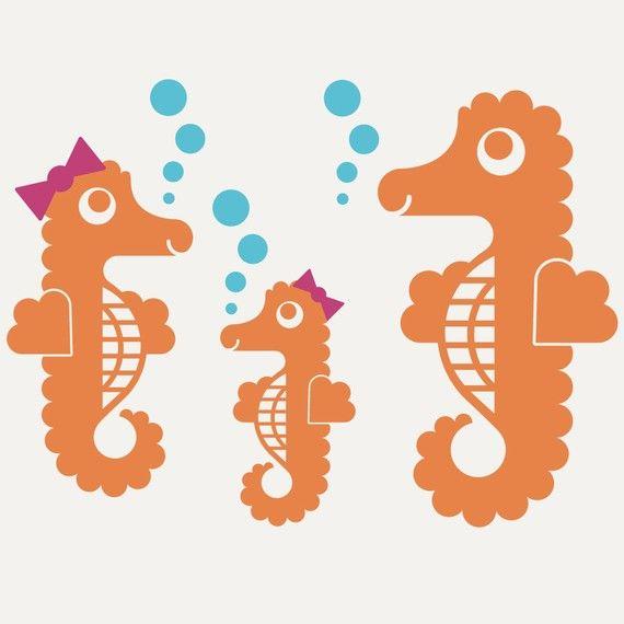 Stickers muraux de hippocampe : Océan pépinière par graphicspaces