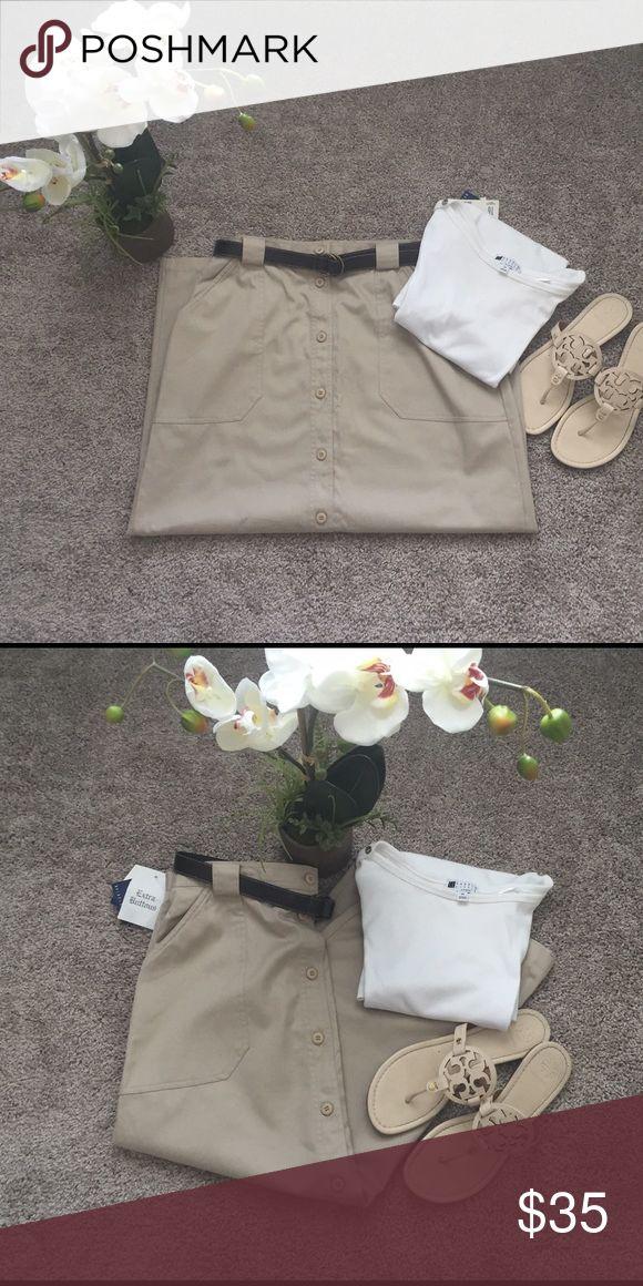 ❗️Liz Claiborne Khaki Shirt❗️ Long Khaki Skirt cotton wrinkle free Liz Claiborne Skirts