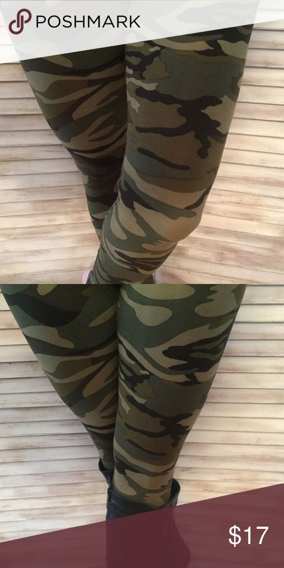 Camouflage Army Leggings Super cute and cozy lounge pants.  Light weight with no pockets.  These comfy cozy pants are perfect for the gym, yoga, or lounging around.  Green and Brown Camouflage - 92% Polyester/8% Spandex. Inseam - 27, Waist - 11.5, Length - 36, Rise - 11 Pants Leggings