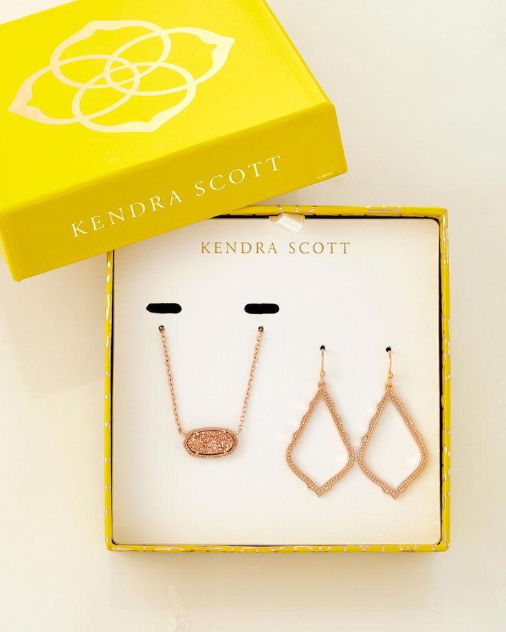 Sophia Earrings And Elisa Necklace Set - Kendra Scott Jewelry (Gold tone, w/ white/cream stone)