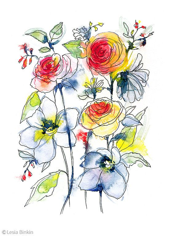 Abstract watercolor roses the image kid for Abstract watercolour flowers