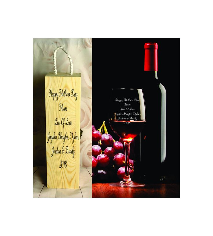 410ml Wine Glass + Wine Gift Box - Personalised Engraved - Mothers Day - Design 5 by SJDesigns78 on Etsy