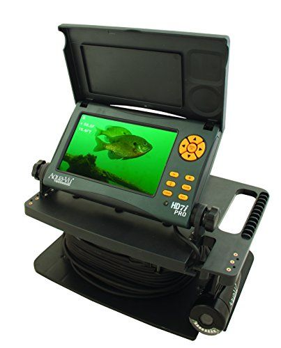 Aqua-Vu HD7i Pro Underwater Camera 7-Inch Color LCD Screen and 75-Feet Cable  https://fishingrodsreelsandgear.com/product/aqua-vu-hd7i-pro-underwater-camera-7-inch-color-lcd-screen-and-75-feet-cable/  7″ Super Bright (2200 nits), Daylight Viewable LCD with Anti-Glare Protection On-screen displays of Digital Depth, Water Temperature and Camera Direction Super Low Light Vu Technology