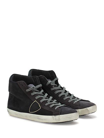PHILIPPE MODEL PARIS - Sneakers - Uomo - Sneaker in pelle effetto delavè e camoscio con logo su lato esterno e suola in gomma. Tacco 25. - BLACK\D.GREY - € 204.00