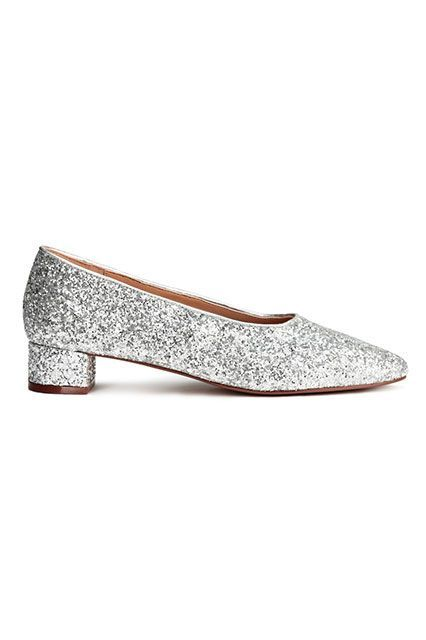 Grandma heels are back, this time in shiny, disco form.H&M Block-heeled Pump, $24.99, available at H&M. #refinery29 http://www.refinery29.com/2016/11/129129/nyc-most-popular-clothing-brands#slide-14
