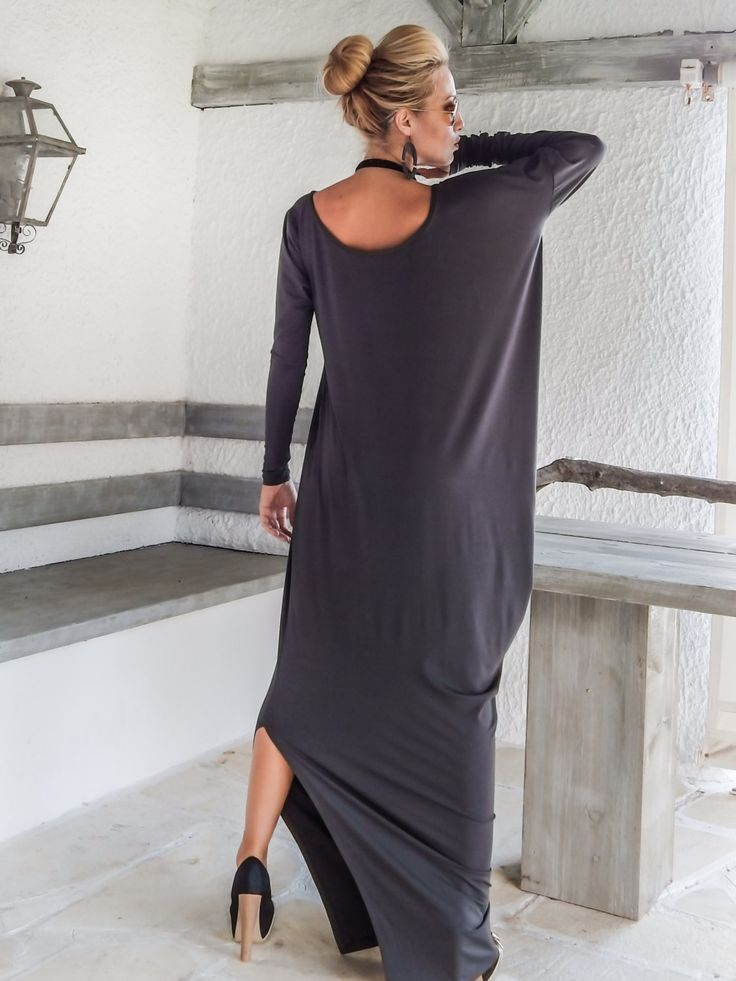 Gray Maxi Long Sleeve Dress / Gray Kaftan / Asymmetric Plus Size Dress / Oversize Loose Dress / #35051 by SynthiaCouture on Etsy