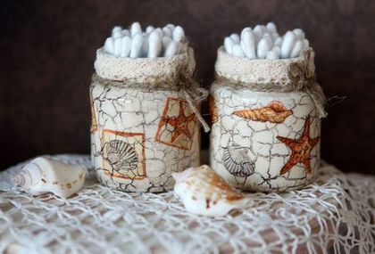 Баночки для ватных палочек морские