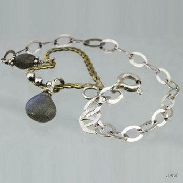 Brass heart, delicate sterling silver bracelet.
