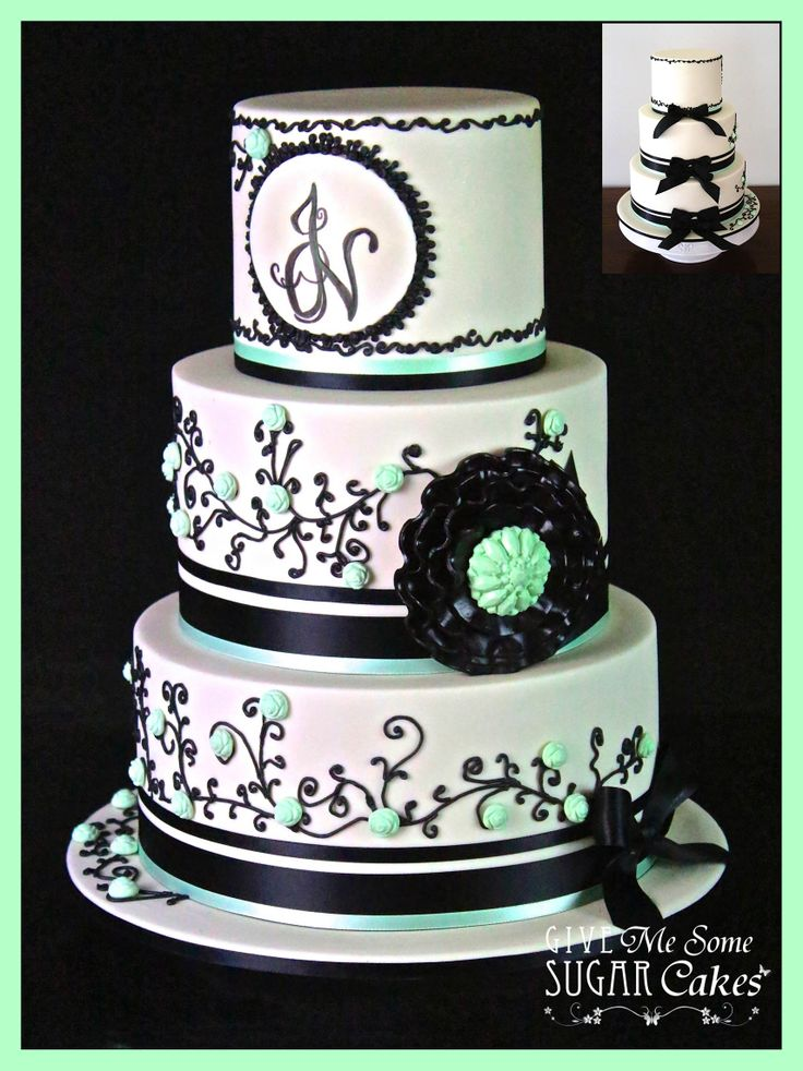 Ivory And Black Wedding Shimmer Cake With Mint Green Highlights
