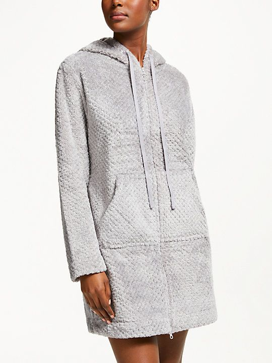 John Lewis Partners Zip Waffle Dressing Gown Grey Clothes In