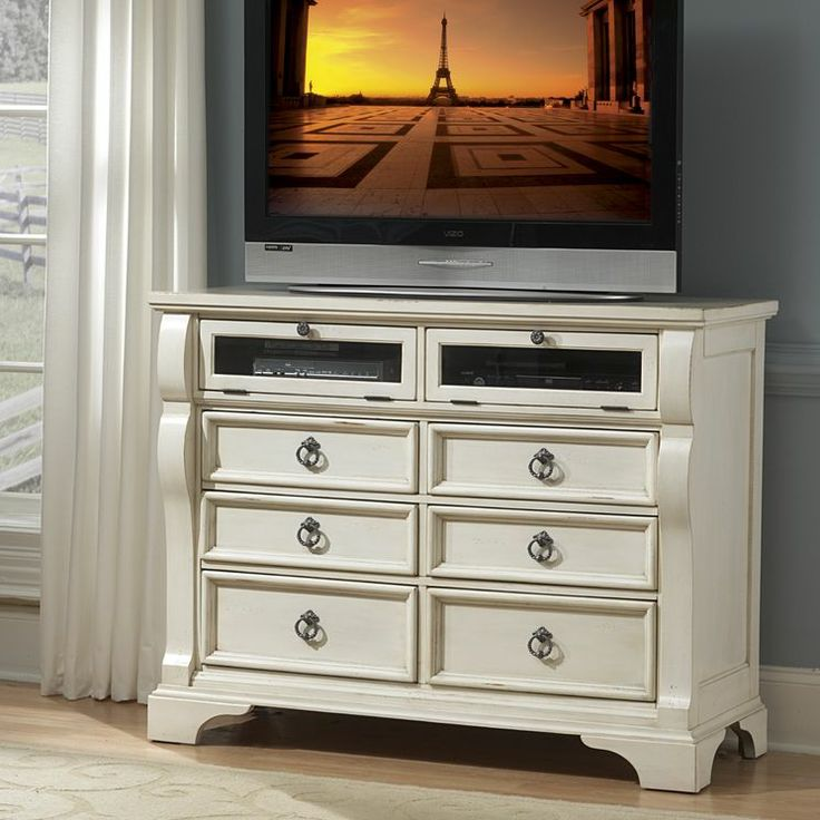 Genial American Woodcrafters Heirloom Media Chest Antique White   Bring  Cottage Inspired Style And Modern Conveniences To Your Bedroom With The  Heirloom Media ...