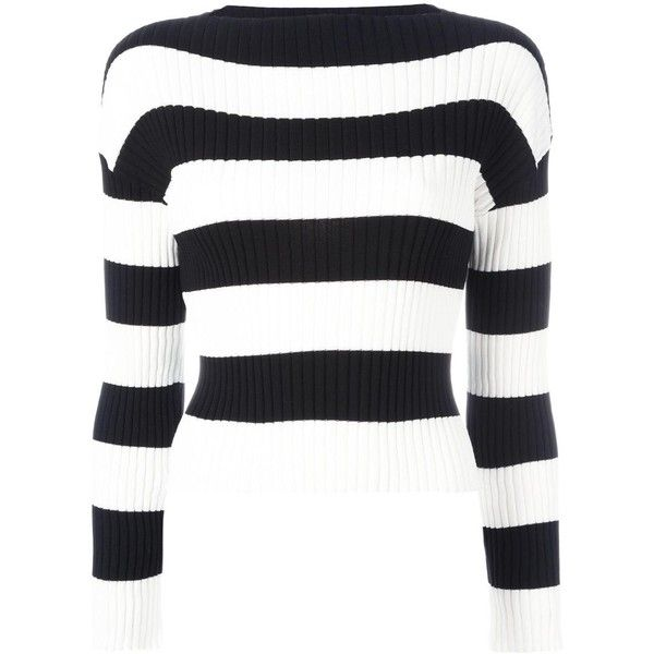 Boutique Moschino striped jumper (€285) ❤ liked on Polyvore featuring tops, sweaters, black, print top, striped jumper, jumpers sweaters, cotton jumpers and jumper top