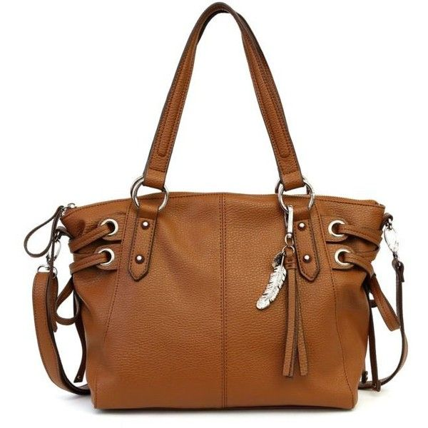 Jessica Simpson Chestnut Juliette Satchel ($88) ❤ liked on Polyvore featuring bags, handbags, chestnut, brown satchel purse, brown leather handbags, brown purse, jessica simpson handbags and leather purses