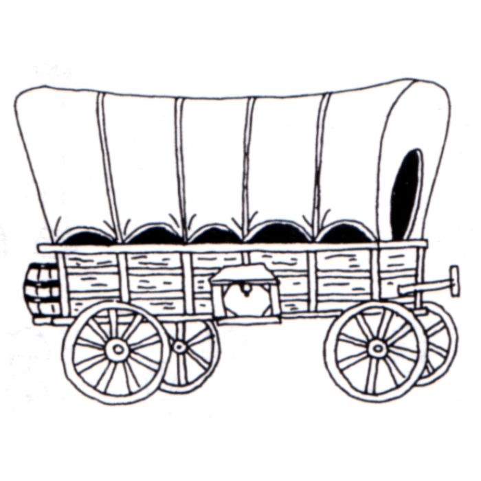 Covered Wagon Rubber Stamp