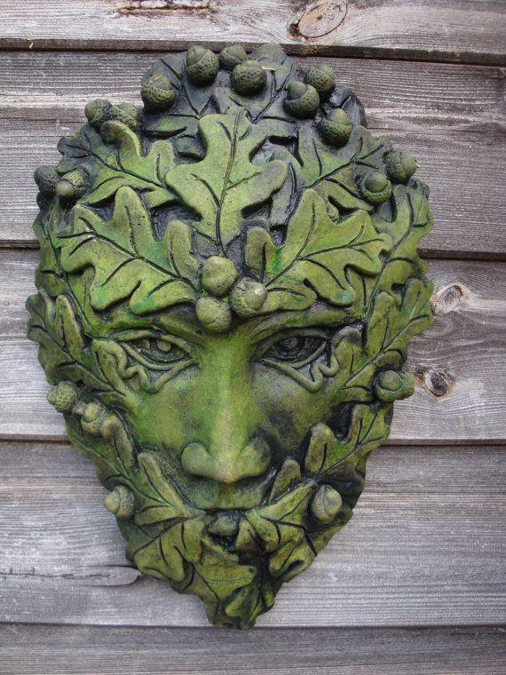 Acorn Green Man Decorative Stone Wall Plaque Pagan Home Garden Ornament